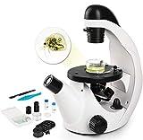 TELMU Microscope Optique 40X-320X, Microscope Monoculaire avec Lumière LED, Filtres colorés, Tranches Biologiques et Support de Smartphone, Cadeau de Noël - Laboratoire/Campus Education des Enfants
