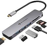 Adaptateur multiport USB C - 7 en 1 Portable en Aluminium avec Sortie HDMI 4K, 3 Ports USB 3.0, Lecteur de Carte SD/Micro SD Compatible avec MacBook Pro, XPS Plus Type C
