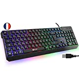 KLIM Chroma Clavier Gamer AZERTY FR + Durable, Ergonomique, Discret, Waterproof, Touches Silencieuses, USB + Clavier Filaire Rétroéclairé Led pour PC Gaming PS4 Mac + Nouvelle Version 2021 + Noir