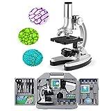 TELMU Microscope de Poche pour Enfants et Débutants, 300 X, 600 X et 1200 X, 70 Pièces d'Assessoires Fournis, avec Éclairage par LED et Lames, Valise et Préparation comprises