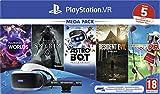Sony PlayStation VR mega pack, Avec casque PS VR + PS Camera + 5 jeux inclus, Système compatible avec toute console PS4, Couleur du casque : Noir et blanc