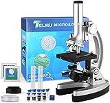TELMU Microscope à Grossissements de 300X-600X-1200X, avec Bras en Métal, Mini Projecteur, Valise et Préparations (70 PCS Kits d'Accessoires Fournis) - Meilleur Cadeau pour Enfants et Débutants