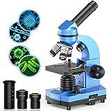 Emarth Science Microscope pour Enfants débutants, étudiants, 40 x 1000 x Microscopes composés avec 52 Kits de Sciences éducatives (Navy Blue)