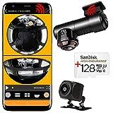TOP NEW 2021 caméra voiture de bord wifi embarquée VISION réel 360° double vidéo haut de gamme fisheye panoramique UHD camera espion équipement électronique jour/nuit +sd 128Go 4K + caméra de recul
