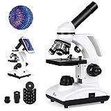 TELMU Microscope 40x À 1000x Oculaire Tout en Métal(WF10X/25X) Microscopes Monoculaires de Composé de Laboratoire Deux Lampe Avec 10 Tranches Biologiques Cinq Échantillons