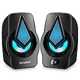 ELEGIANT Double Haut-parleurs PC, Enceintes PC USB 2.0 Système de Stéréo 2 * 5W Haut-parleurs d'Ordinateur Volume Contrôle avec LED Lumière 3,5 mm pour PC Smartphone Tablette Ordinateur de Bureau