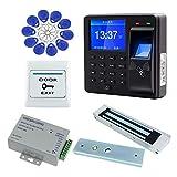 AMAO Kit de système de contrôle d'accès de Porte RFID biométrique Clavier à Empreinte Digitale Clavier + Serrure magnétique électrique 180KG DC12V, Alimentation 125KHz 10porte-clés Assistance Machine