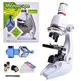 HONPHIER® Microscope Enfant Jouet pour Enfants 100x 400x 1200x Grossissement Scientifique Coffret Microscope pour Kids l'éducation Précoce